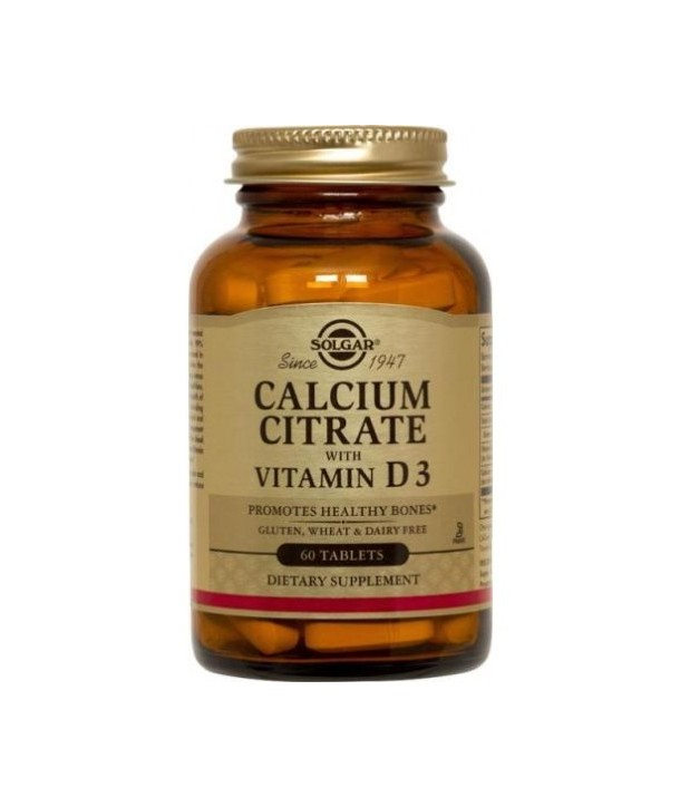 SOLGAR CALCIUM CITRATE 250mg WITH VITAMIN D3 60TABS