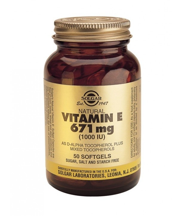 SOLGAR VITAMIN E 1000IU 50 SOFTGELS