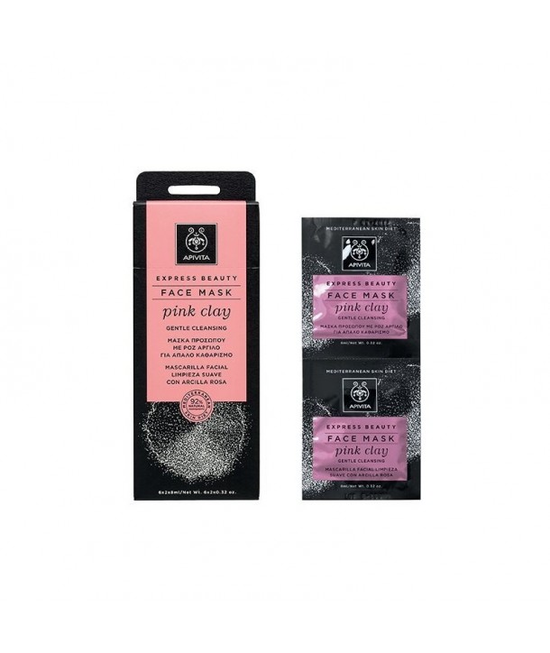 APIVITA EXPRESS CLEANSING FACE MASK WITH PINK CLAY 2x8ml